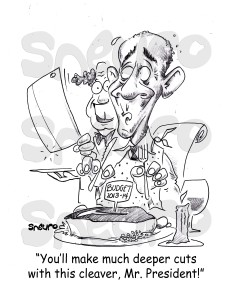 You'll make much deeper cuts with this cleaver, Mr. President!